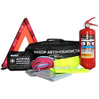 фото товара Астра люкс Набор Автомобилиста (огнетушитель, аптечка, трос , салфетка, жилет, авар. знак+ подарок) в сумке